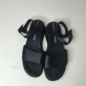 EasySpirit Womens Black Leather Ankle Strap Sandal